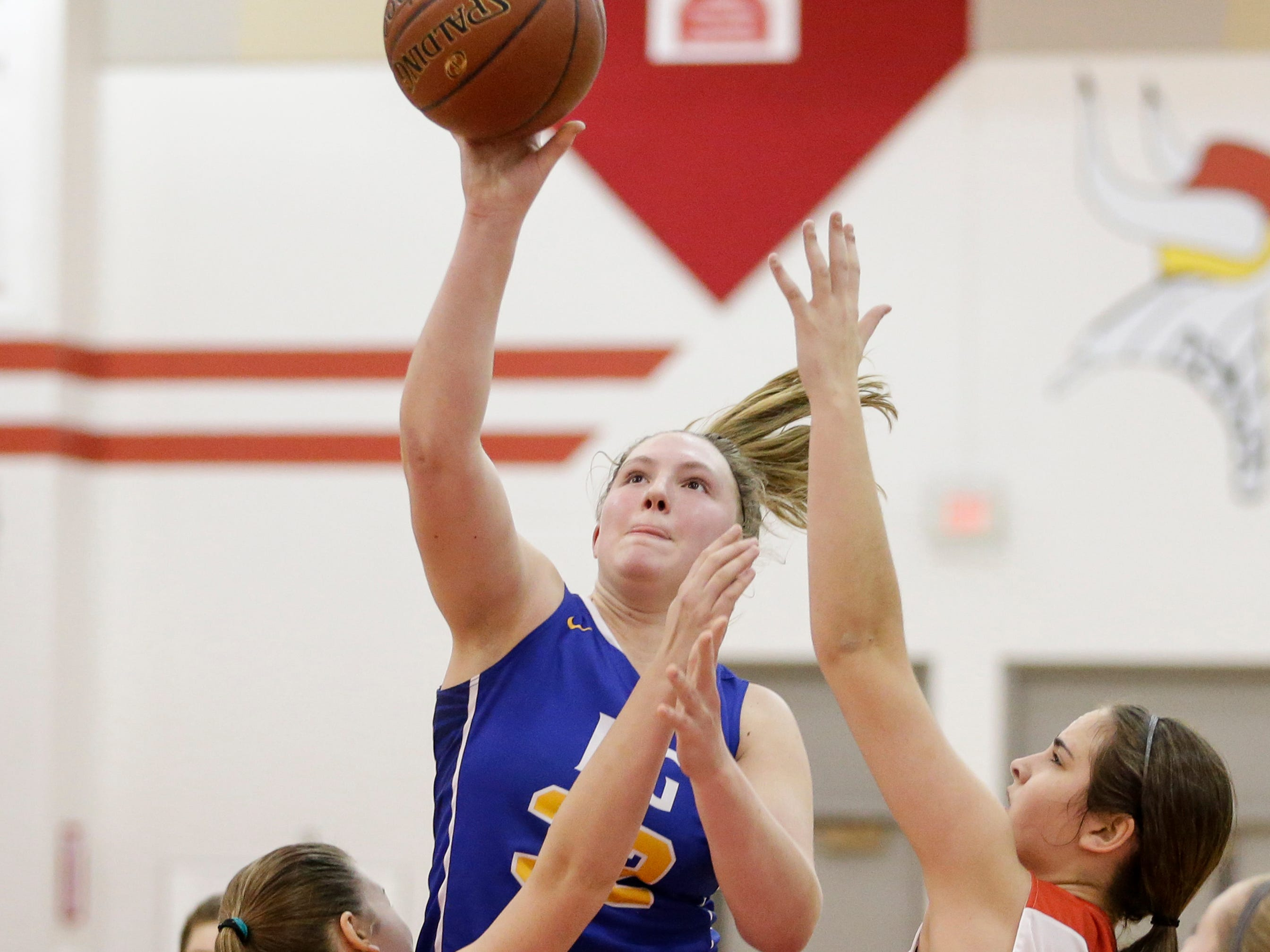 Howards Grove's Madalynn Near (32) shoots against Valders in a non-conference game at Valders High School Saturday, January 19, 2019, in Valders, Wis. Joshua Clark/USA TODAY NETWORK-Wisconsin