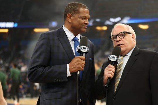Marques Johnson (left) and Jim Paschke get set to call the Milwaukee Bucks game against the Magic in Orlando for Fox Sports Wisconsin on Saturday night.