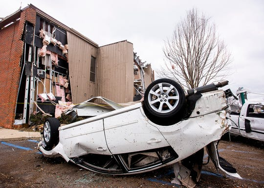 Building and vehicle damage on Sunday January 20, 2019, after a tornado hit Wetumpka, Ala., on Saturday afternoon.