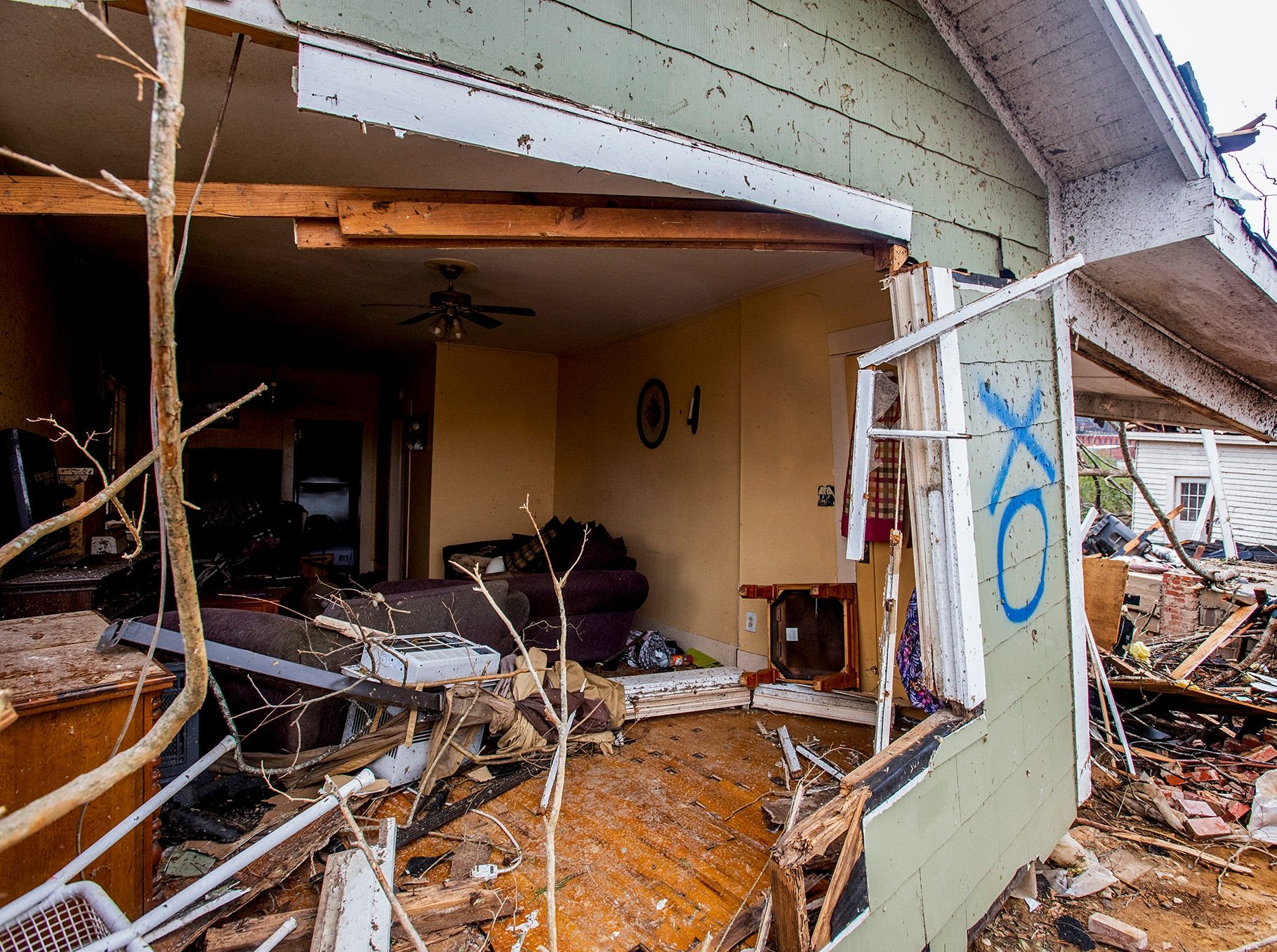 A damaged home on Sunday January 20, 2019, after a tornado hit Wetumpka, Ala., on Saturday afternoon.