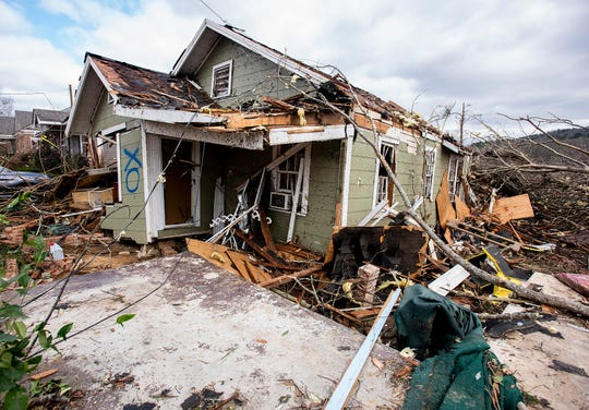 Storm damaged homes on Sunday January 20, 2019, after a tornado hit Wetumpka, Ala., on Saturday afternoon.