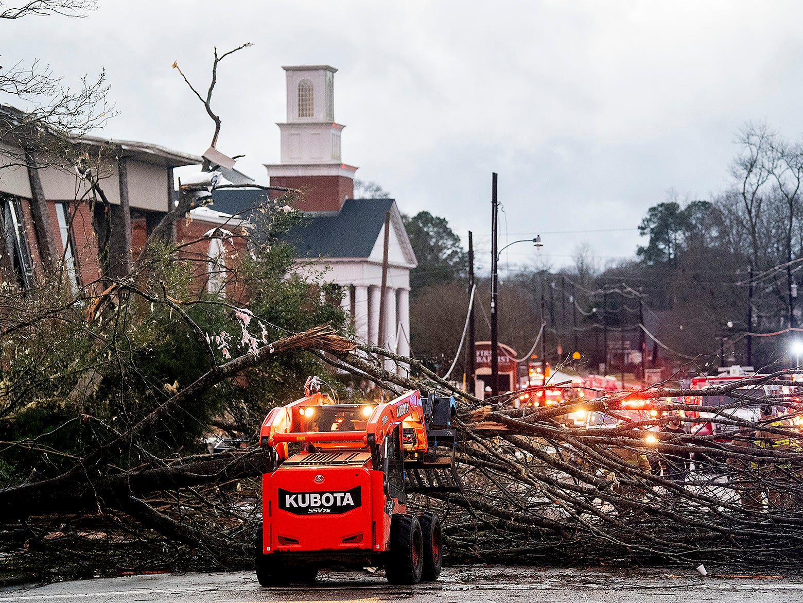 Roads are cleared after a tornado touchdown in Wetumpka, Ala., on Saturday afternoon January 19, 2019.