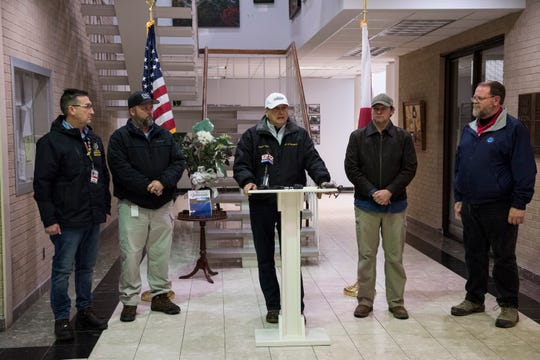 Wetumpka Mayor Jerry Willis address the media during a press conference in Wetumpka, Ala., on Sunday, Jan. 20, 2019.
