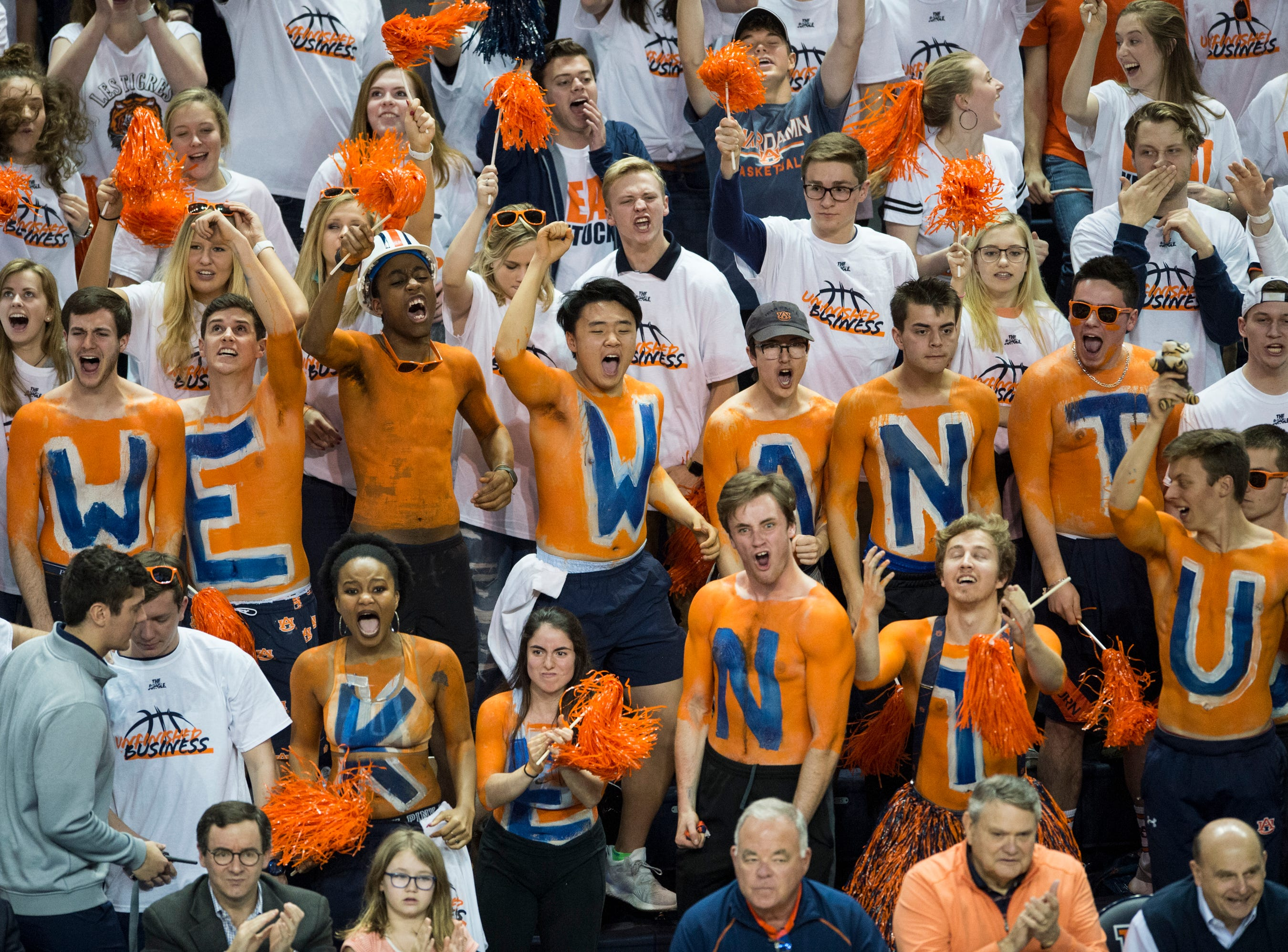 Auburn fans cheer on their team at Auburn Arena in Auburn, Ala., on Saturday, Jan. 19, 2019. Kentucky defeats Auburn 82-80.