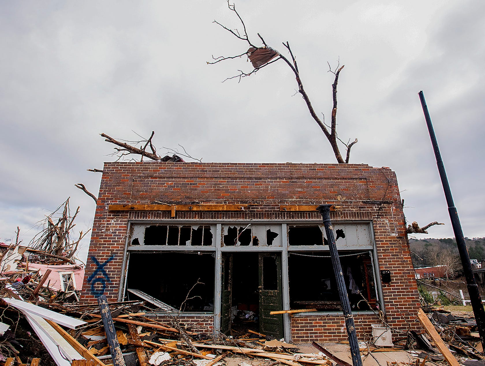 A damaged building on Sunday January 20, 2019, after a tornado hit Wetumpka, Ala., on Saturday afternoon.