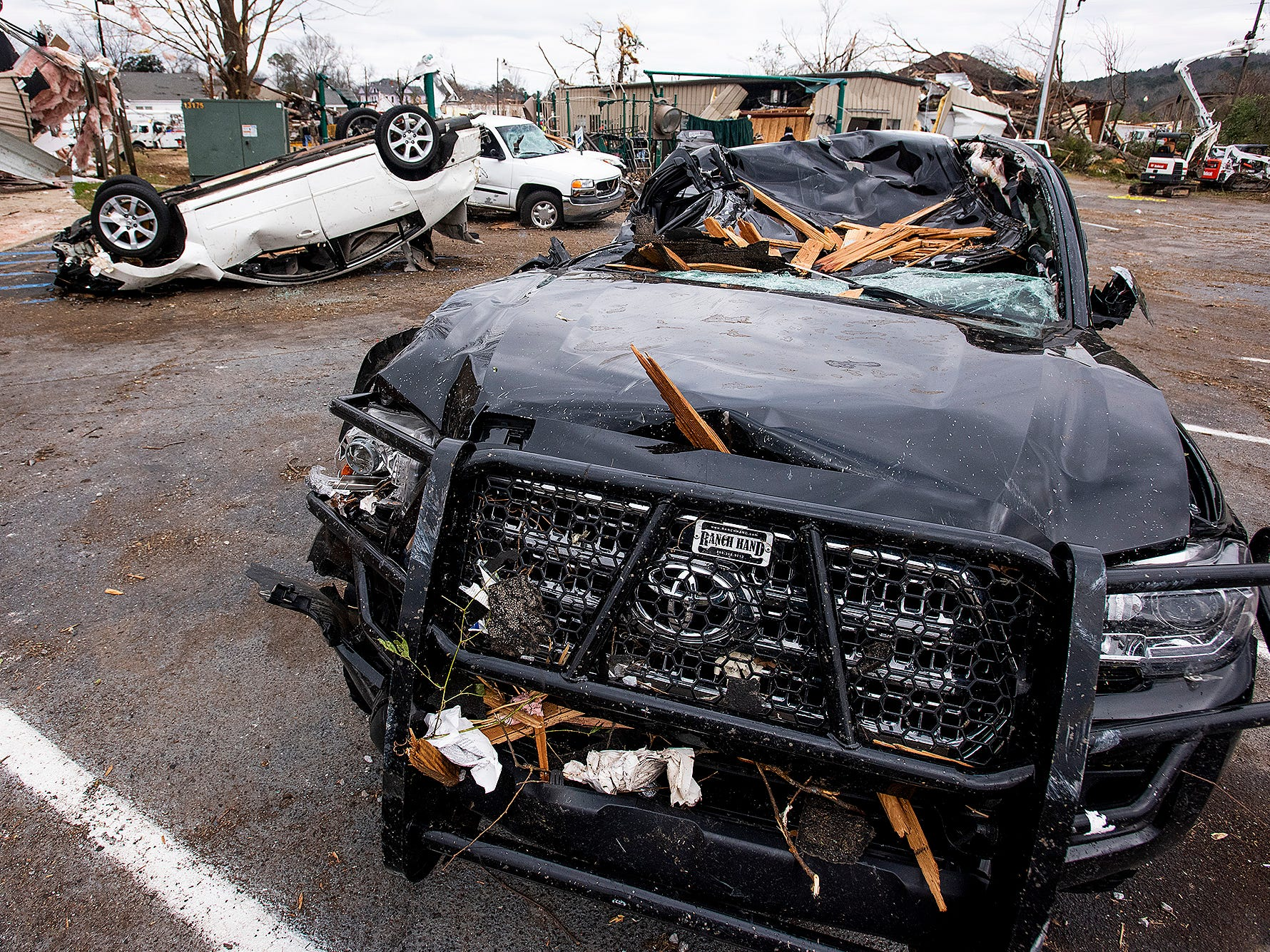 Damaged vehicles on Sunday January 20, 2019, after a tornado hit Wetumpka, Ala., on Saturday afternoon.