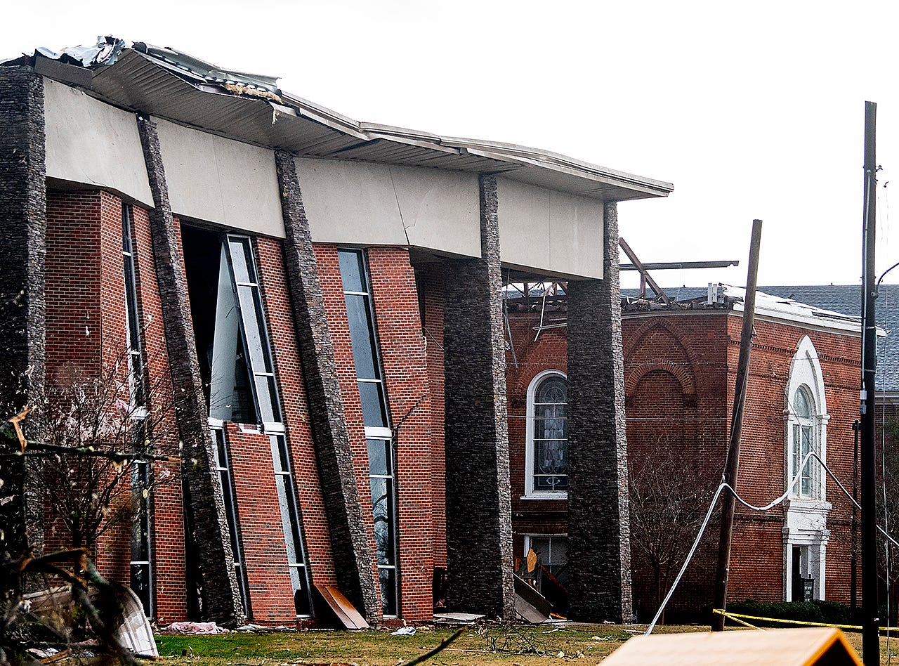 First Baptist Church is damaged from a tornado touchdown in Wetumpka, Ala., on Saturday afternoon January 19, 2019.