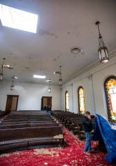 The roof is missing, but the ceiling is mostly intact in the old Wetumpka First Baptist Church building on Sunday January 20, 2019, after a tornado hit Wetumpka, Ala., on Saturday afternoon.