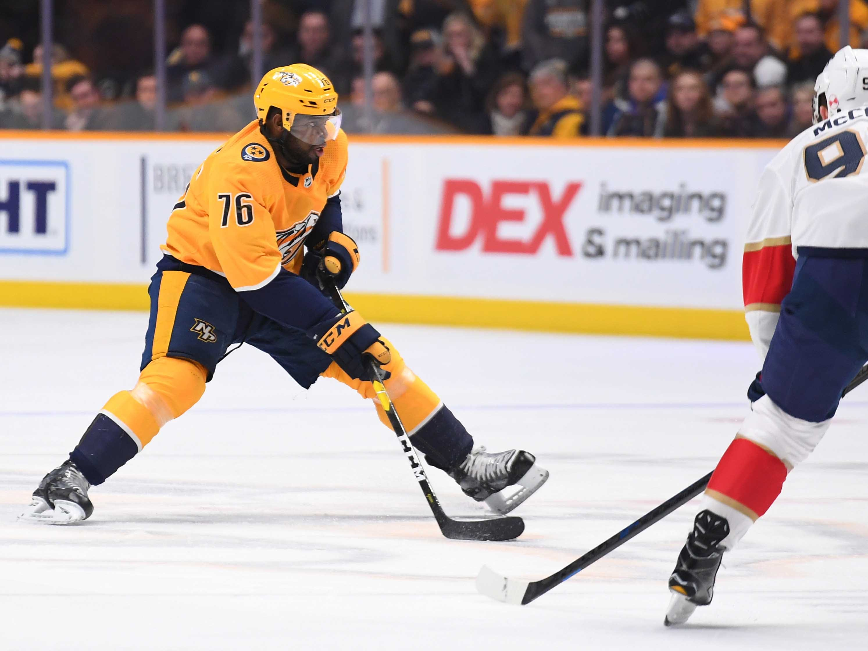 Nashville Predators defenseman P.K. Subban (76) skates the puck into the offensive zone during the first period against the Florida Panthers at Bridgestone Arena.