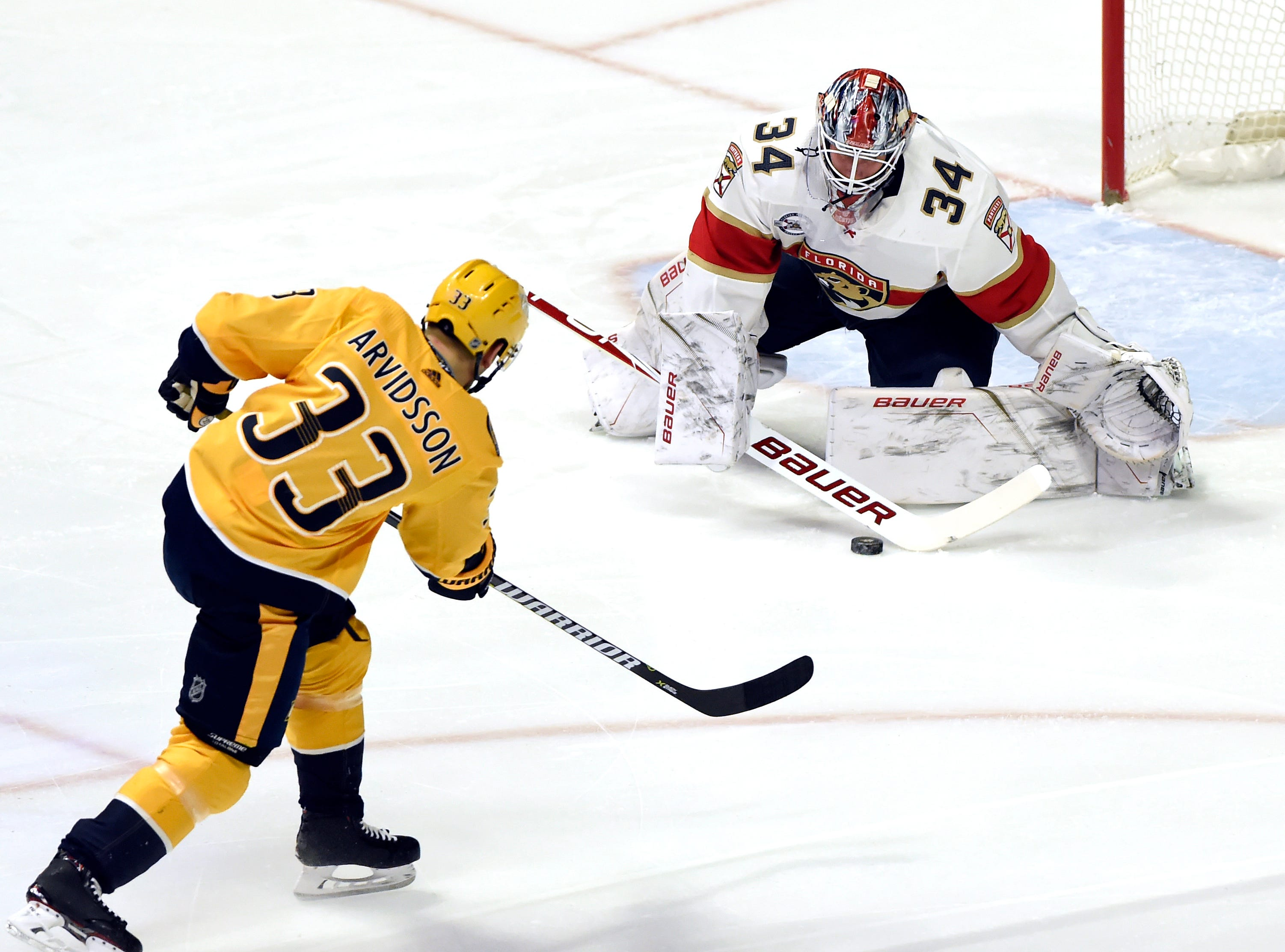 Florida Panthers goaltender James Reimer (34) blocks a shot by Nashville Predators right wing Viktor Arvidsson (33) during the first period of an NHL hockey game Saturday, Jan. 19, 2019, in Nashville, Tenn.