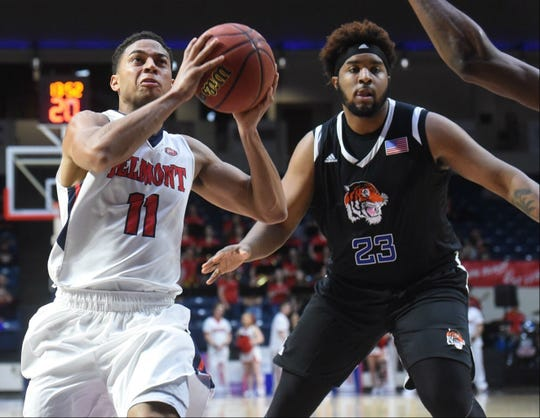 Belmont's Kevin McClain drives past Tennessee State's DaJion Henderson in Saturday night's game at Curb Event Center.