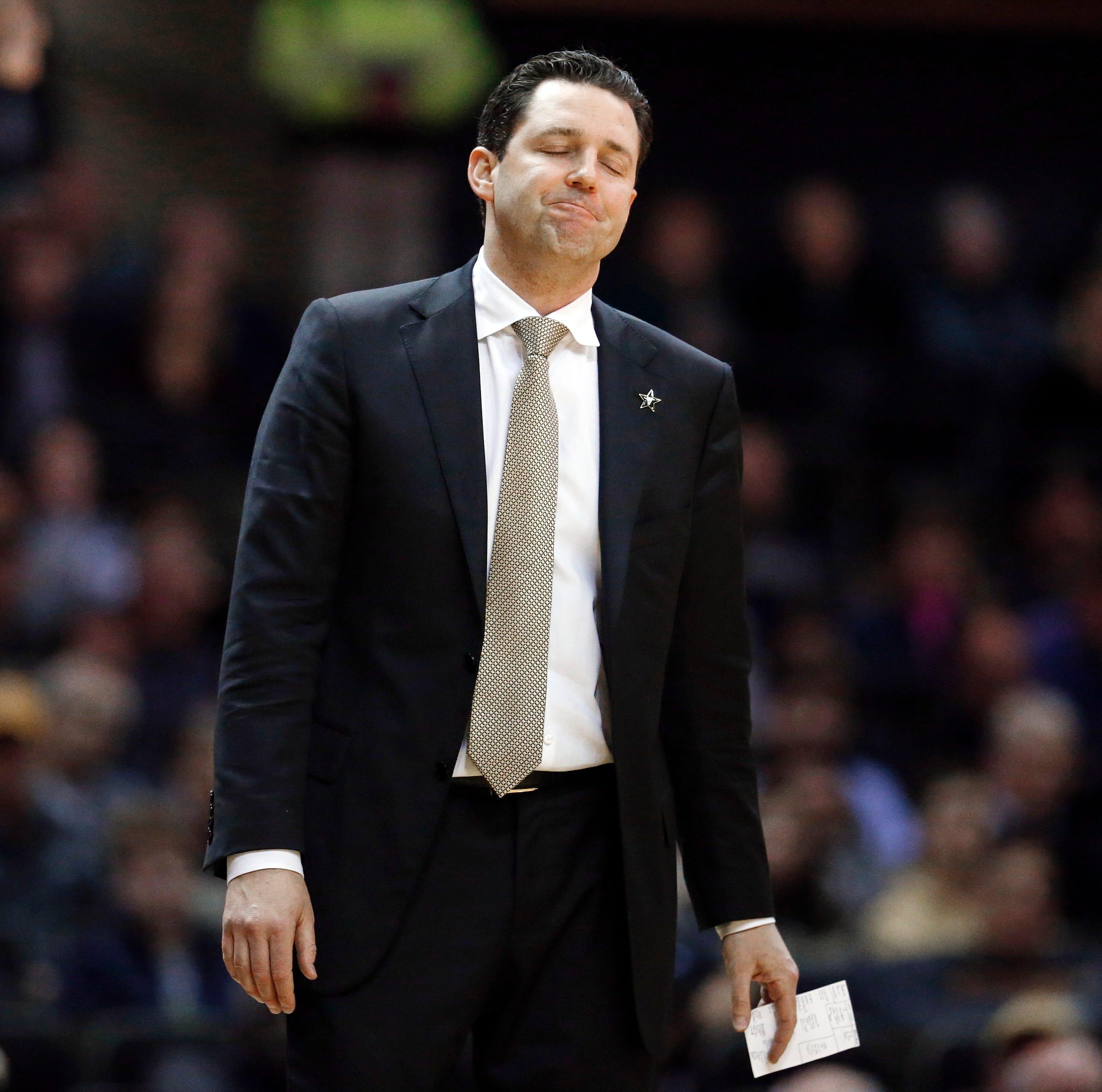 Vanderbilt head coach Bryce Drew reacts to a call...