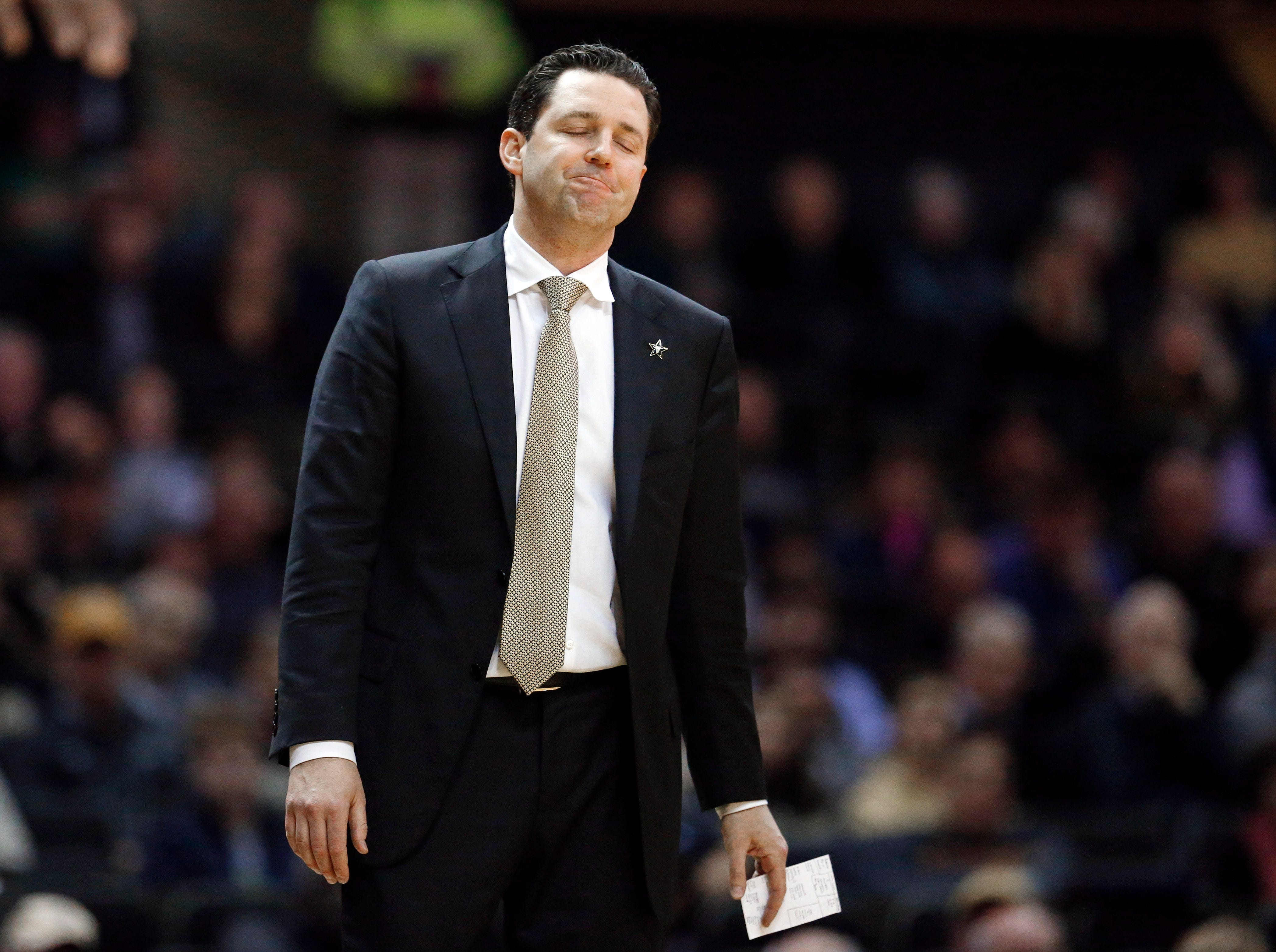 Vanderbilt head coach Bryce Drew reacts to a call in the first half of an NCAA college basketball game against Mississippi State, Saturday, Jan. 19, 2019, in Nashville, Tenn.