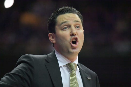 Vanderbilt Commodores head coach Bryce Drew during the first half against the Mississippi State Bulldogs at Memorial Gymnasium.