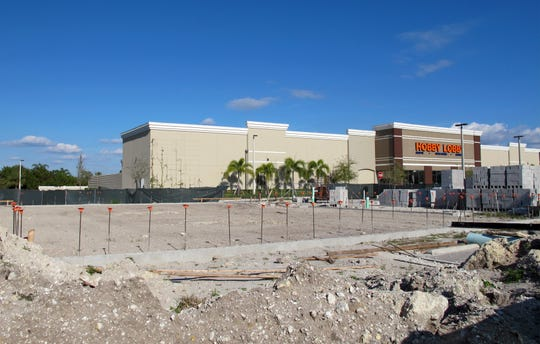 A 6,000-square-foot multitenant building is under construction Jan. 17, 2019, between Hobby Lobby and Outback Steakhouse in Triangle Plaza next to Stock's Lely Resort off U.S. 41 East in East Naples.