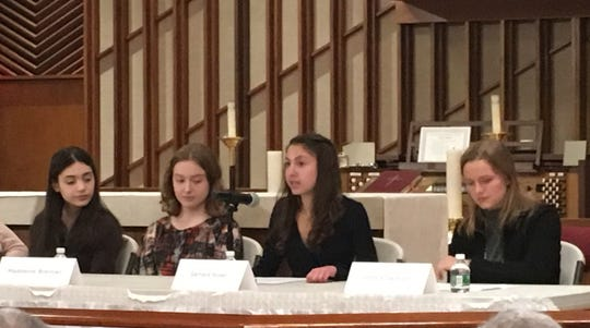 Alana Benson, of Ridgewood, Madeleine Brennan, of Glen Rock, Samara Rosen of Glen Rock, and Sophia Swanson of Ridgewood were among the panelists at a social justice forum to remember Martin Luther King Jr., in Glen Rock on January 19, 2019.