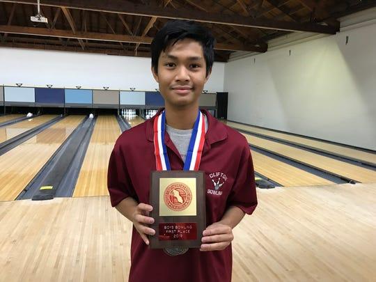 Clifton senior Johann Gamo won the boys high series award at the 2019 Passaic County bowling tournament.