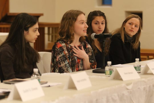 Alana Benson student at Ridgewood HS, Madeleine Brennan a Glenn Rock HS student, Samara Rosen and Sophia Swanson both Glen Rock HS students were part of a Social Justice Forum presented by the Dr. Martin Luther King Jr. Celebration Committee of Ridgewood and Glenn Rock at the All Saints Episcopal Church in Glenn Rock on January 19, 2019. One the panel along with Grewal is Helen Archontou, CEO of the YWCA of Bergen County, .