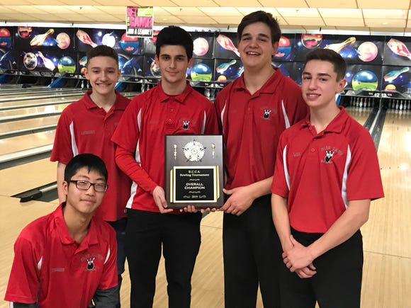 Fair Lawn scored a six-game total of 6,000 to repeat as Bergen County boys bowling champ on Saturday, Jan. 19, 2019 at Bowler City in Hackensack. From left: Kun Hee Lim, Anthony Frangiosa, Aaron Manspeizer, Nick Greco and Jake Nappi.