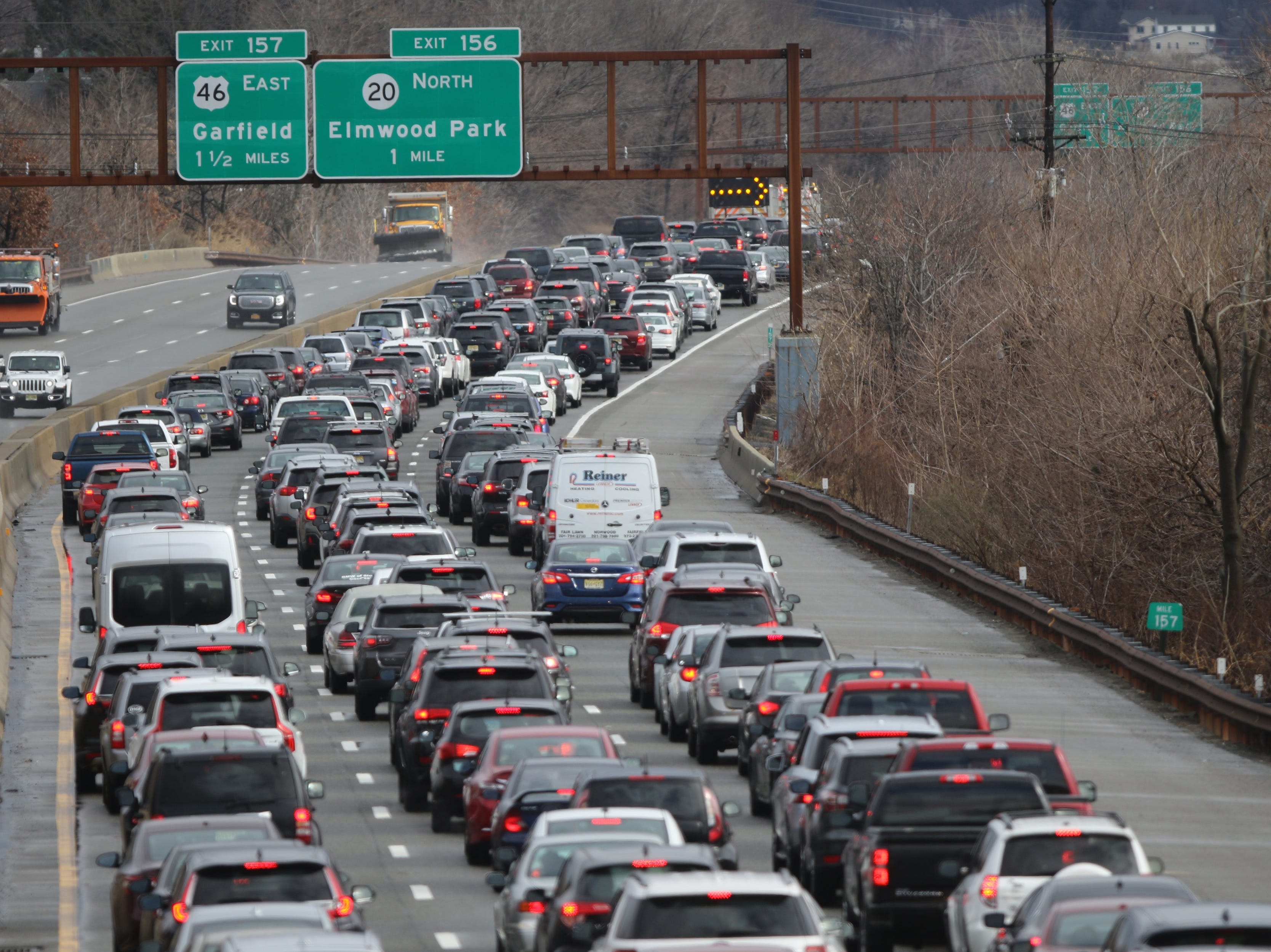Traffic is shown in Clifton on the Garden State Parkway north-bound after the accident. Sunday, January 20, 2019