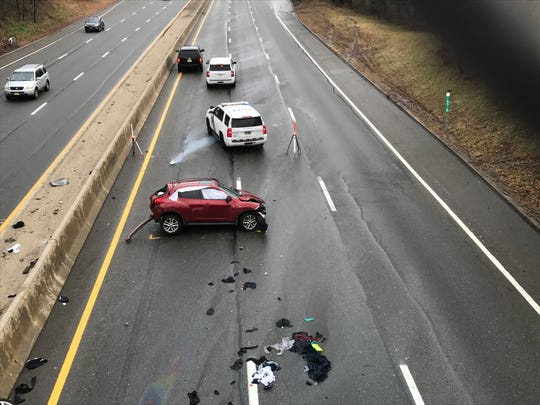 The scene of a fatal traffic accident on the Garden State Parkway in Clifton, Sunday, Jan. 20 2019.