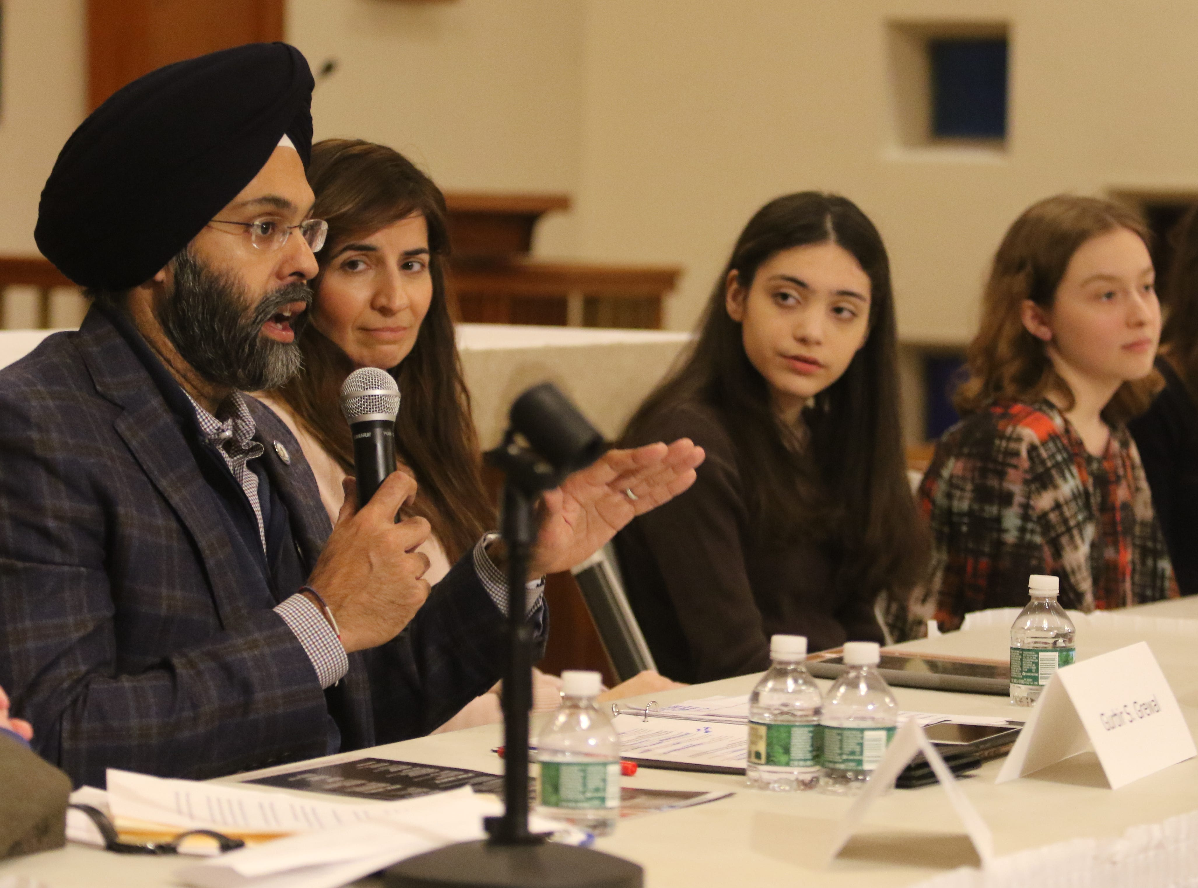 NJ Attorney General, Gurbir Grewal is part of a Social Justice Forum presented by the Dr. Martin Luther King Jr. Celebration Committee of Ridgewood and Glenn Rock at the All Saints Episcopal Church in Glenn Rock on January 19, 2019. One the panel along with Grewal is Helen Archontou, CEO of the YWCA of Bergen County, Alana Benson student at Ridgewood HS, Madeleine Brennan a Glenn Rock HS student, Samara Rosen and Sophia Swanson both Glen Rock HS students.