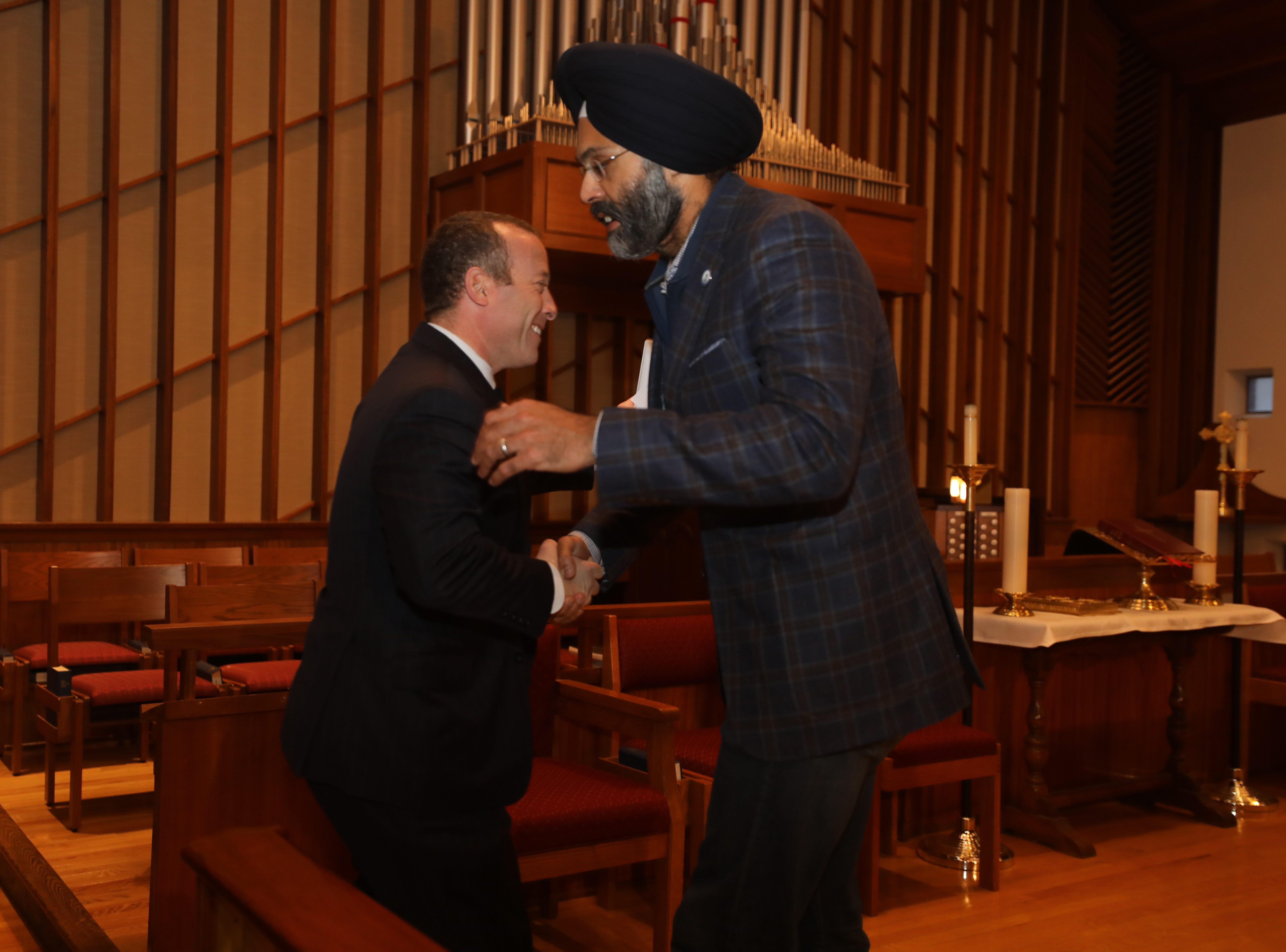 Congressman Josh Gottheimer was greeted by NJ Attorney General Gurbir Grewal as they both addressed a Social Justice Forum presented by the Dr. Martin Luther King Jr. Celebration Committee of Ridgewood and Glenn Rock at the All Saints Episcopal Church in Glenn Rock on January 19, 2019.