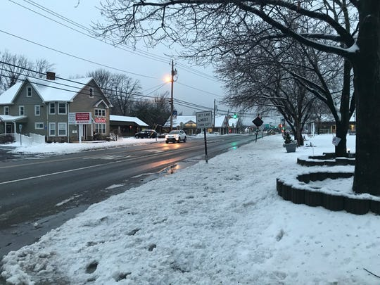 Union Valley Road in front of West Milford town hall was generally clear of snow and ice.