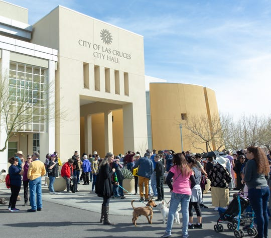 Many gather on Sunday, Jan. 20, 2019, during the Doña Ana County NAACP annual MLK March in downtown Las Cruces.