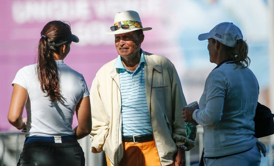 Chi Chi Rodriguez talks with golfers at the Brickyard Crossing Golf Course for the Indy Women in Tech Pro-Am in 2017. Rodriguez was in Appleton on Tuesday for the 54th annual Red Smith Banquet.