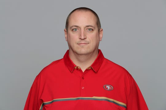 This is a 2017 photo of new Packers offensive line coach Adam Stenavich when he was with the San Francisco 49ers.