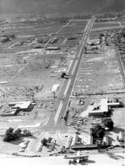 Early Section 18 airport looking down Tahquitz McCallum Way toward San Jacinto.