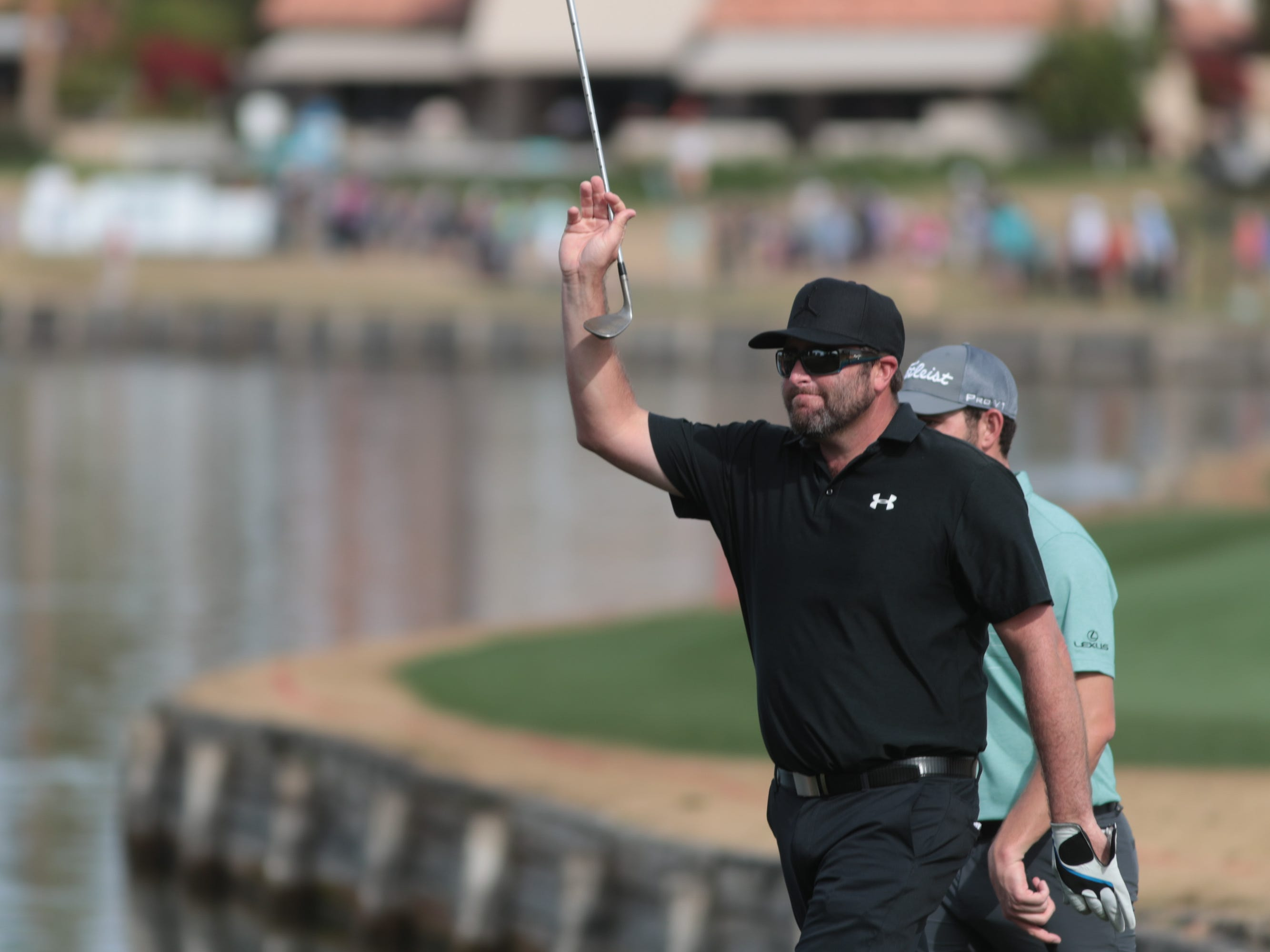 Steve Marino celebrates after making an eagle on the 7th hole of the 2019 Desert Classic, Sunday, January 20, 2019.