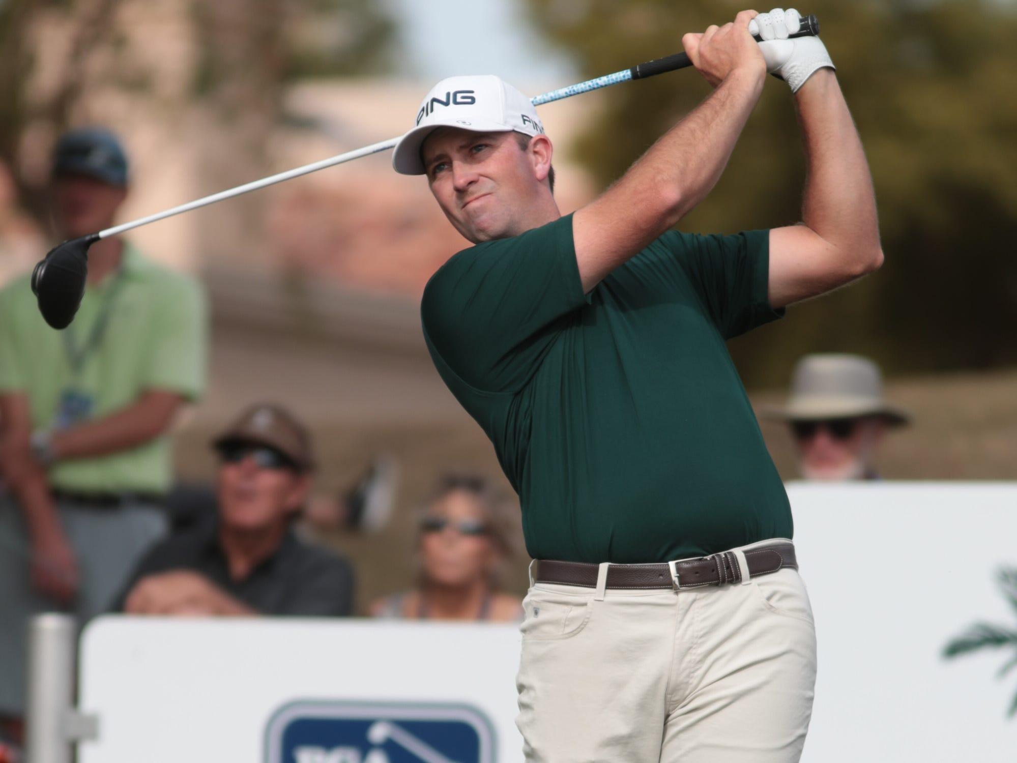 Michael Thompson tees off on the 9th hold of the 2019 Desert Classic, Sunday, January 20, 2019.