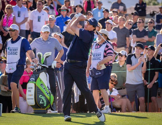 Phil Mickelson hits a tee shot at the Stadium Course at PGA West during Saturday's third round of the Desert Classic