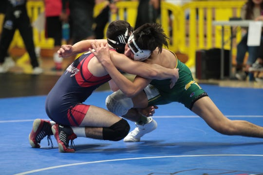 Wrestlers compete at the Desert Valley League wrestling championships, Saturday, January 19, 2019.