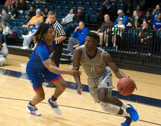 West Florida's Jon Brown drives to the hoop as they take on the West Georgia Wolves Saturday, January 19, 2019 at the UWF Field House.