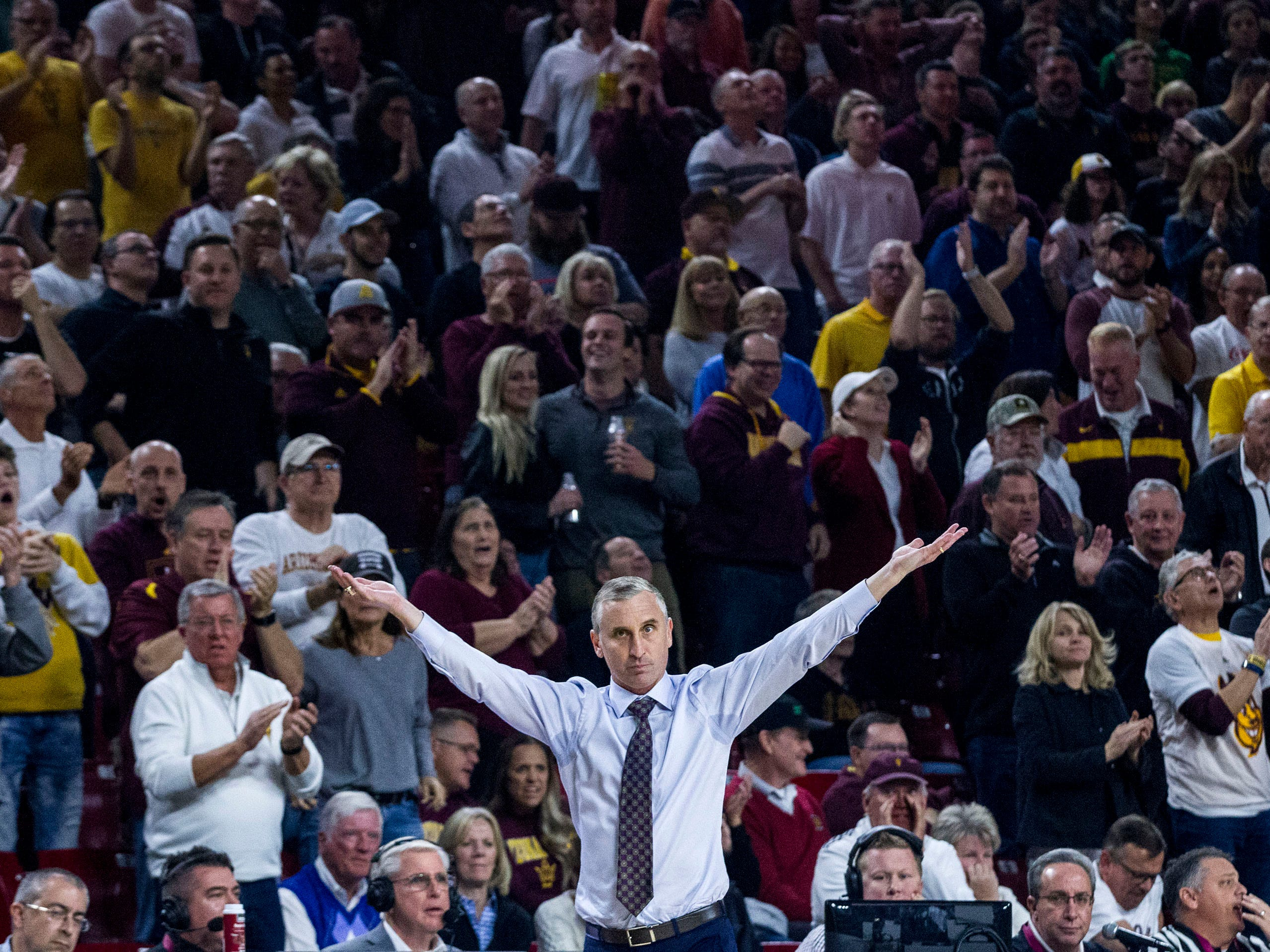 Arizona State coach Bobby Hurley gestures to the crowd during the second half against Oregon on Saturday, Jan. 19, 2019, in Tempe, Ariz. Arizona State won 78-64.(AP Photo/Darryl Webb)
