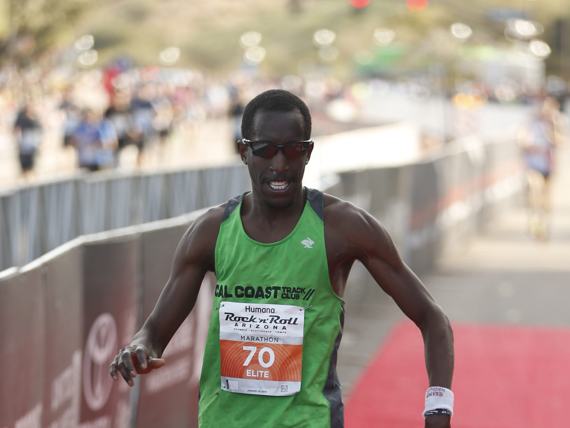 Roosevelt Cook finishes in second place during the Rock 'N' Roll half-marathon in Tempe on Jan. 20, 2019.
