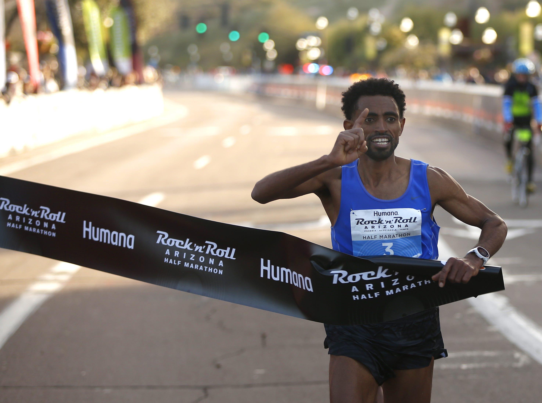 Daniel Mesfun wins the Rock 'N' Roll half-marathon in Tempe on Jan. 20, 2019.