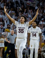Arizona State's Taeshon Cherry (35) celebrates back-to-back 3-pointers by the team against Oregon during the second half, Saturday, Jan. 19, 2019, in Tempe, Ariz. Arizona State won 78-64. (AP Photo/Darryl Webb)