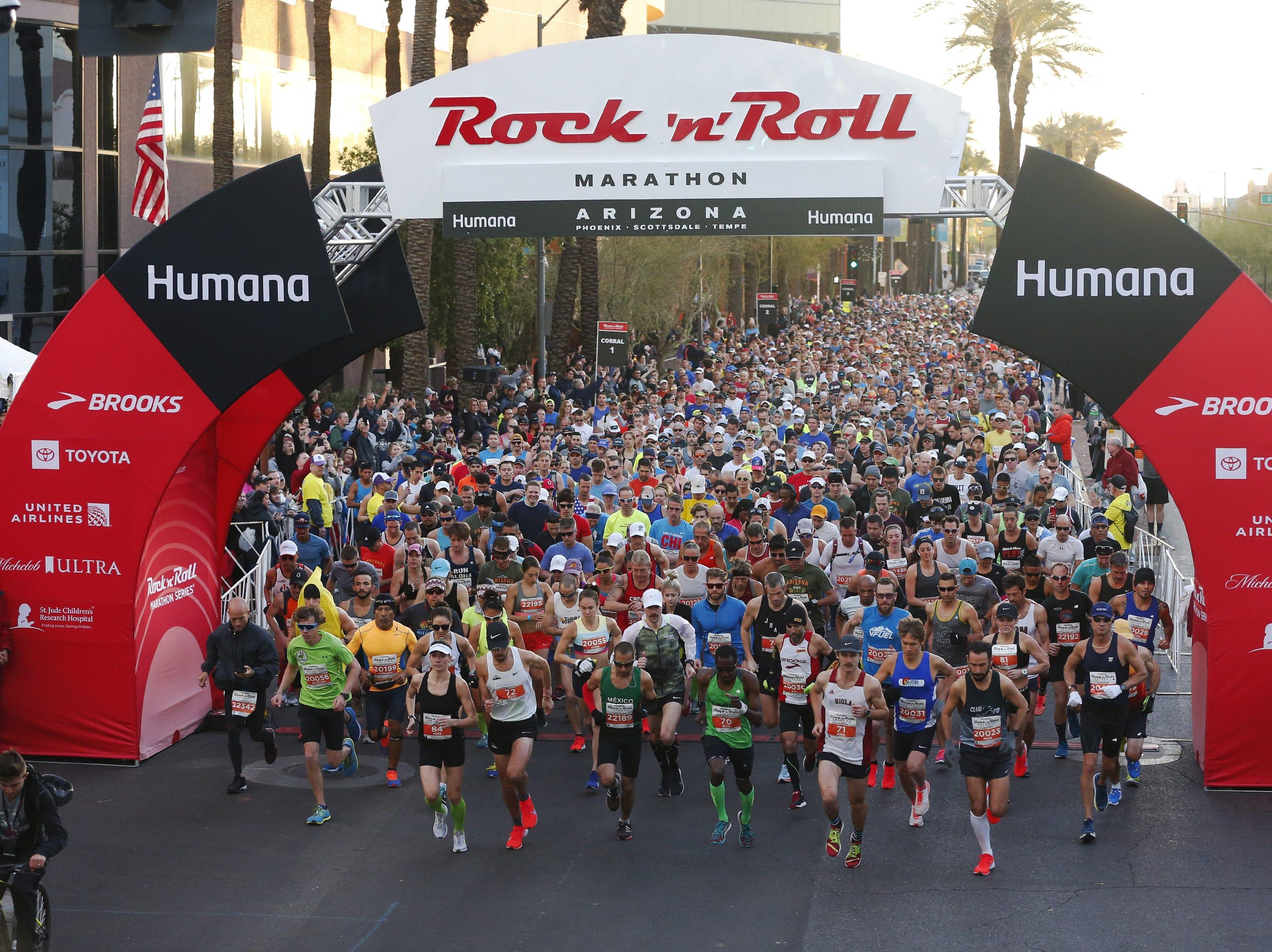 Runners start the Rock 'N' Roll Marathon in Phoenix on Jan. 20, 2019.