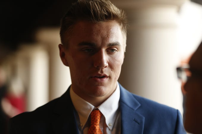 Bo Nix, Alabama's Mr. Football, speaks with reporters before the National Quarterback Club Awards Dinner & Hall of Fame Induction Ceremony The Scottsdale Resort at McCormick Ranch in Scottsdale, Ariz. on January 19, 2019.