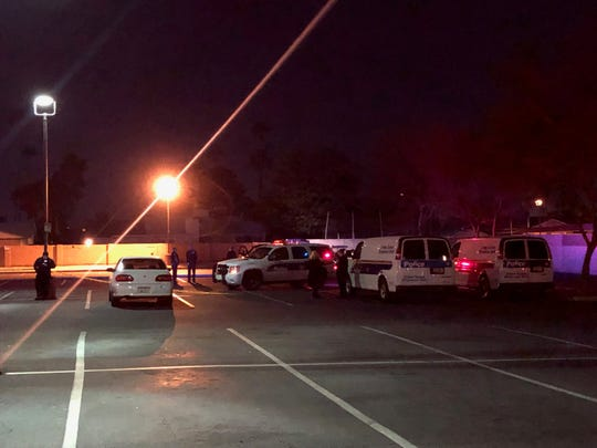 Phoenix police investigated a shooting Saturday night in the parking lot of Ranch Market, in the 5800 block of West Thomas Road, Jan. 19, 2019.