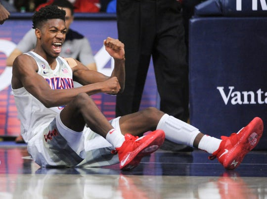 Jan 19, 2019; Tucson, AZ, USA; Arizona Wildcats guard Brandon Randolph (5) reacts to a foul call during the second half against the Oregon State Beavers at McKale Center. Mandatory Credit: Casey Sapio-USA TODAY Sports