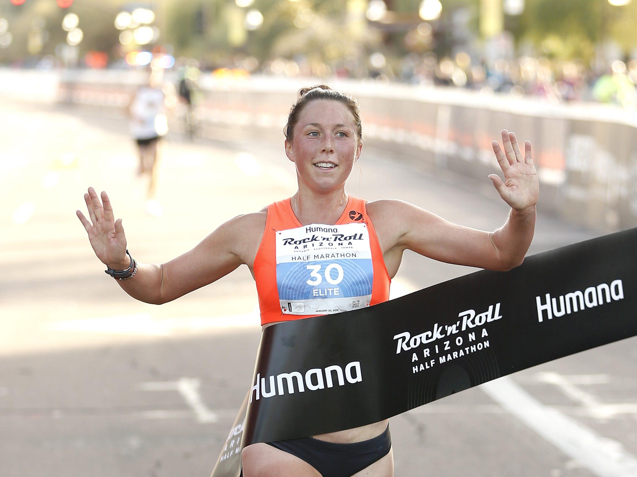 Allie Kieffer celebrates after winning the Rock 'n' Roll half-marathon in Tempe on Jan. 20, 2019.