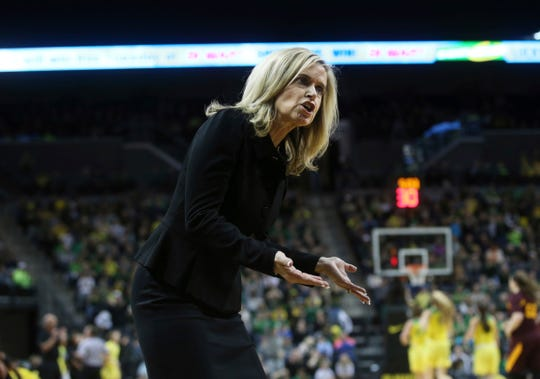 Arizona State coach Charli Turner questions a call during the first half of the team's NCAA college basketball game against Oregon on Friday, Jan. 18, 2019, in Eugene, Ore.