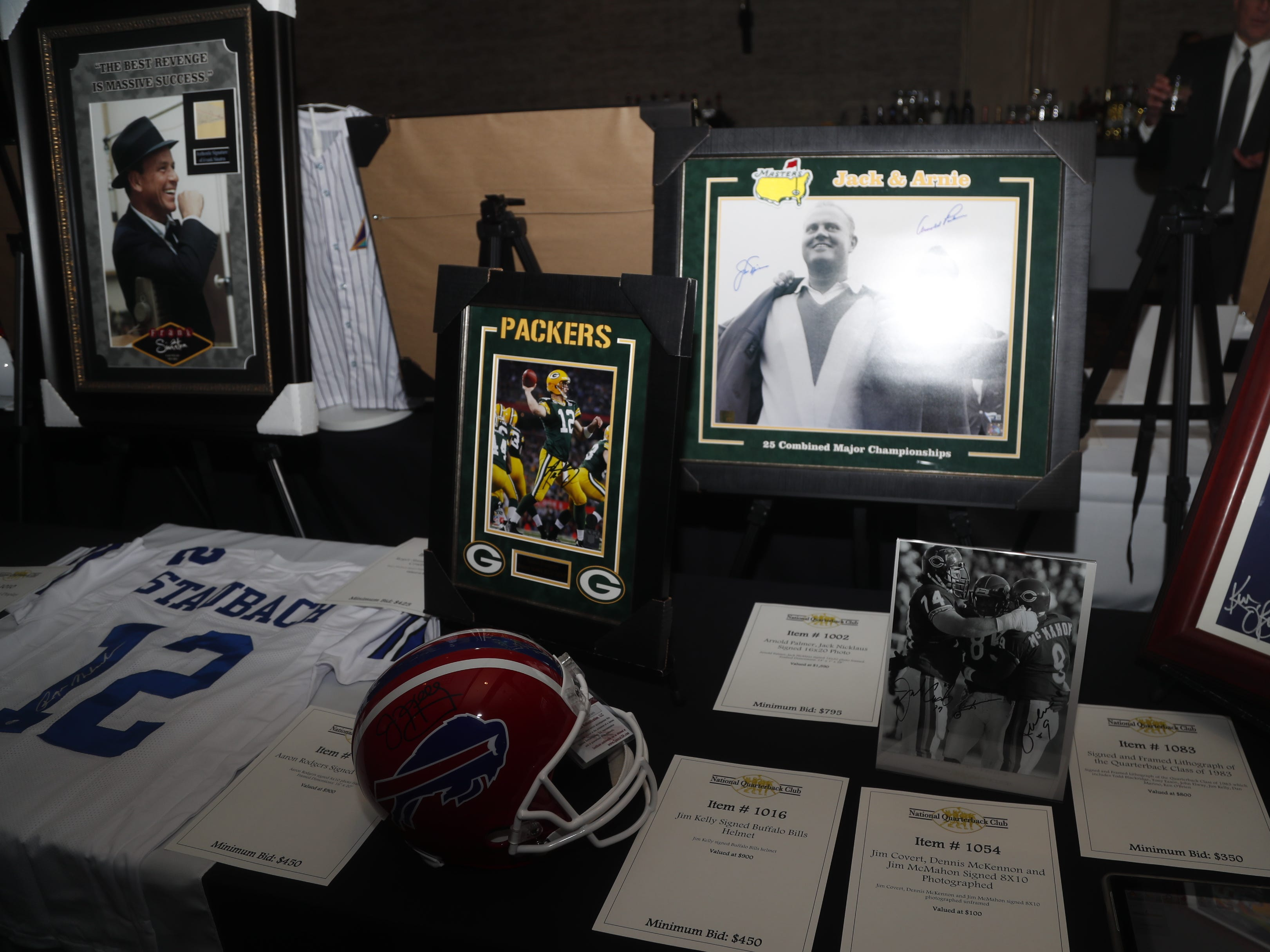Memorabilia sits for auction before the National Quarterback Club Awards Dinner & Hall of Fame Induction Ceremony The Scottsdale Resort at McCormick Ranch in Scottsdale, Ariz. on January 19, 2019.