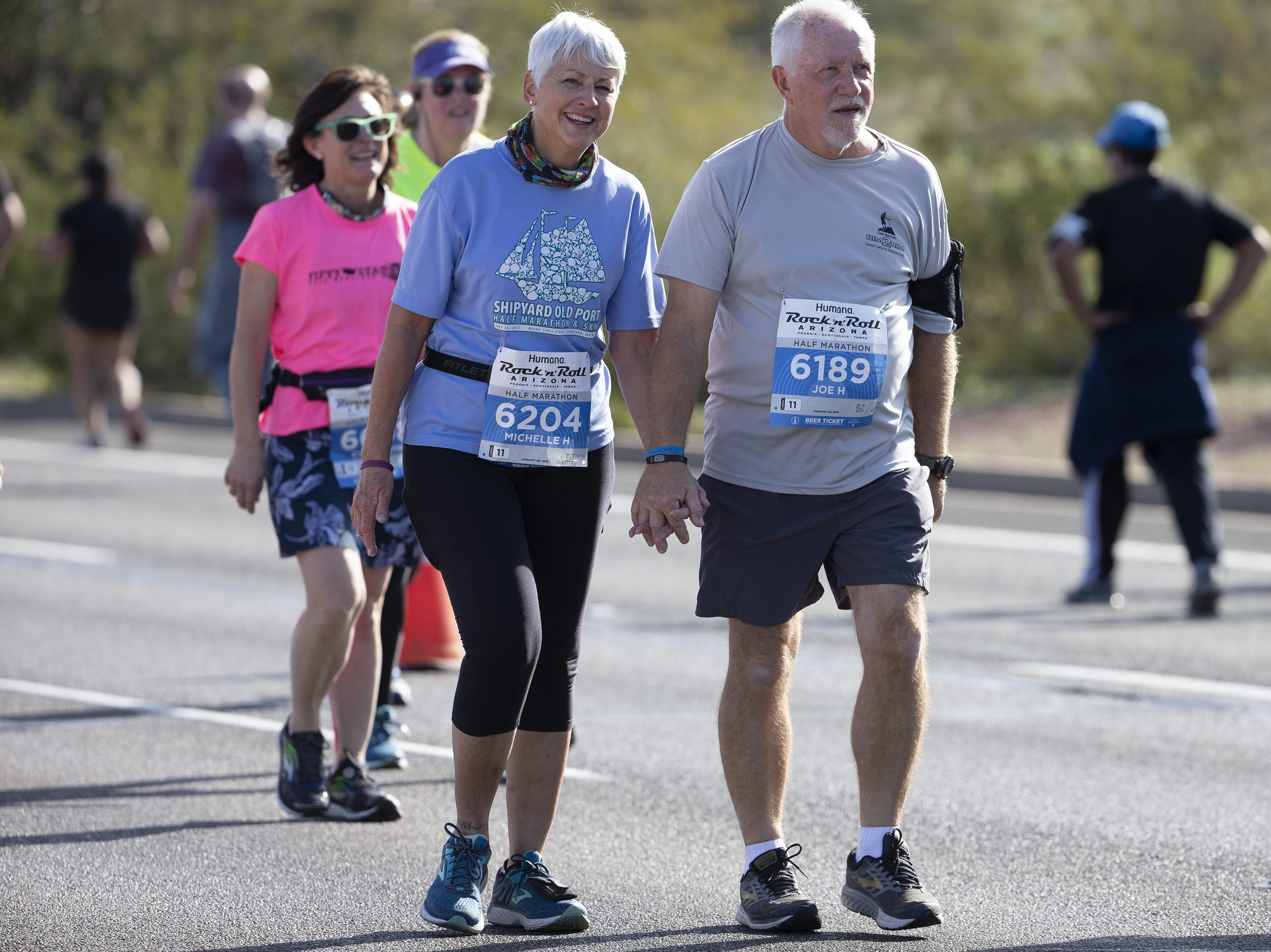 Runners compete in the Humana Rock 'N' Roll half-marathon near Papago Park on Jan. 20, 2019.