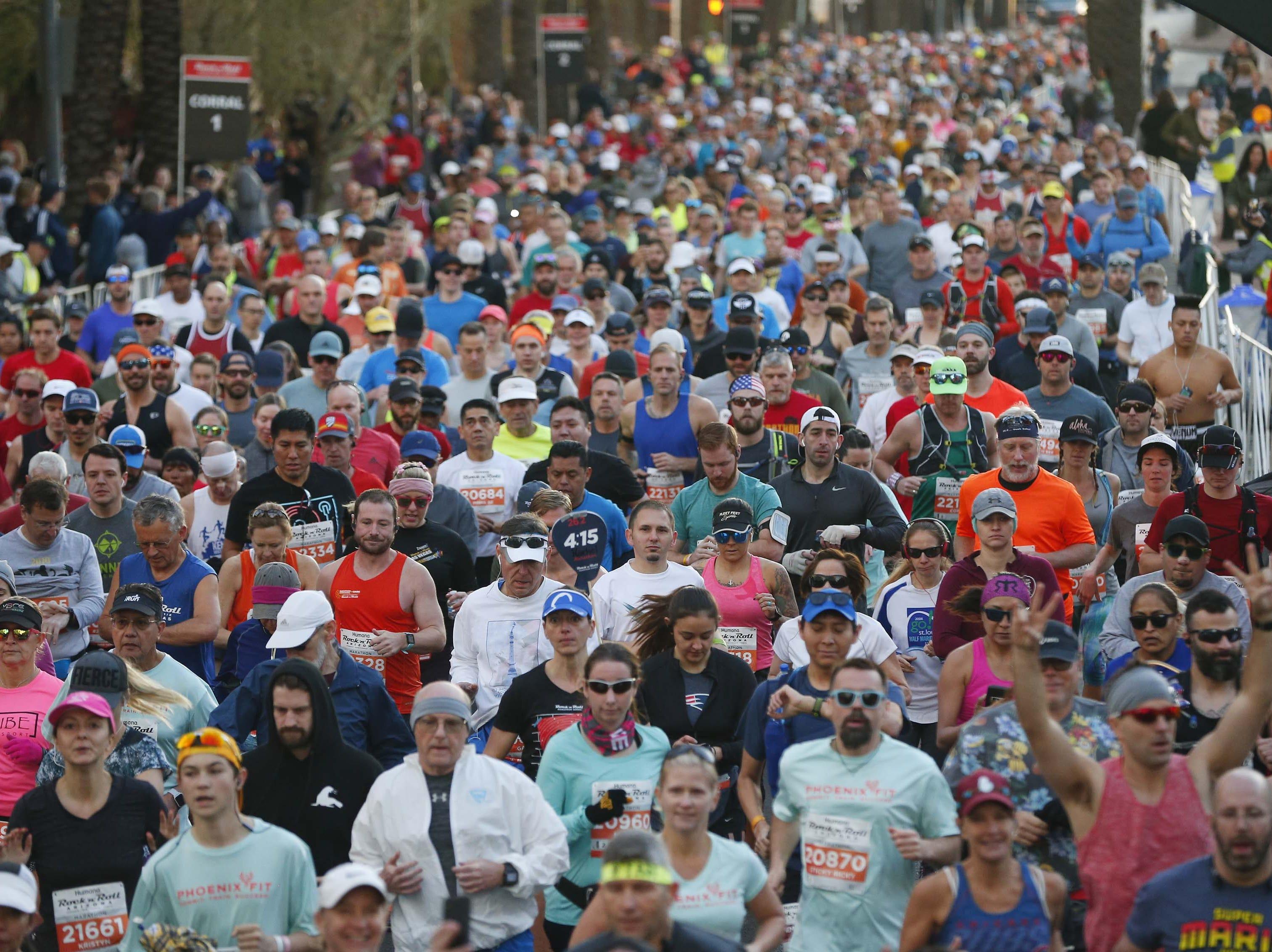 Runners begin the Rock 'n' Roll Marathon in Phoenix, Jan. 20, 2019.
